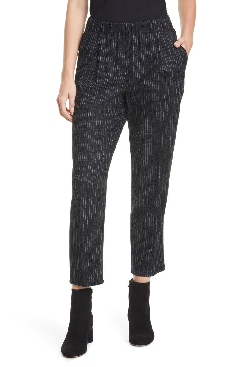 EILEEN FISHER Cropped Pull-On Pants, Main, color, BLACK
