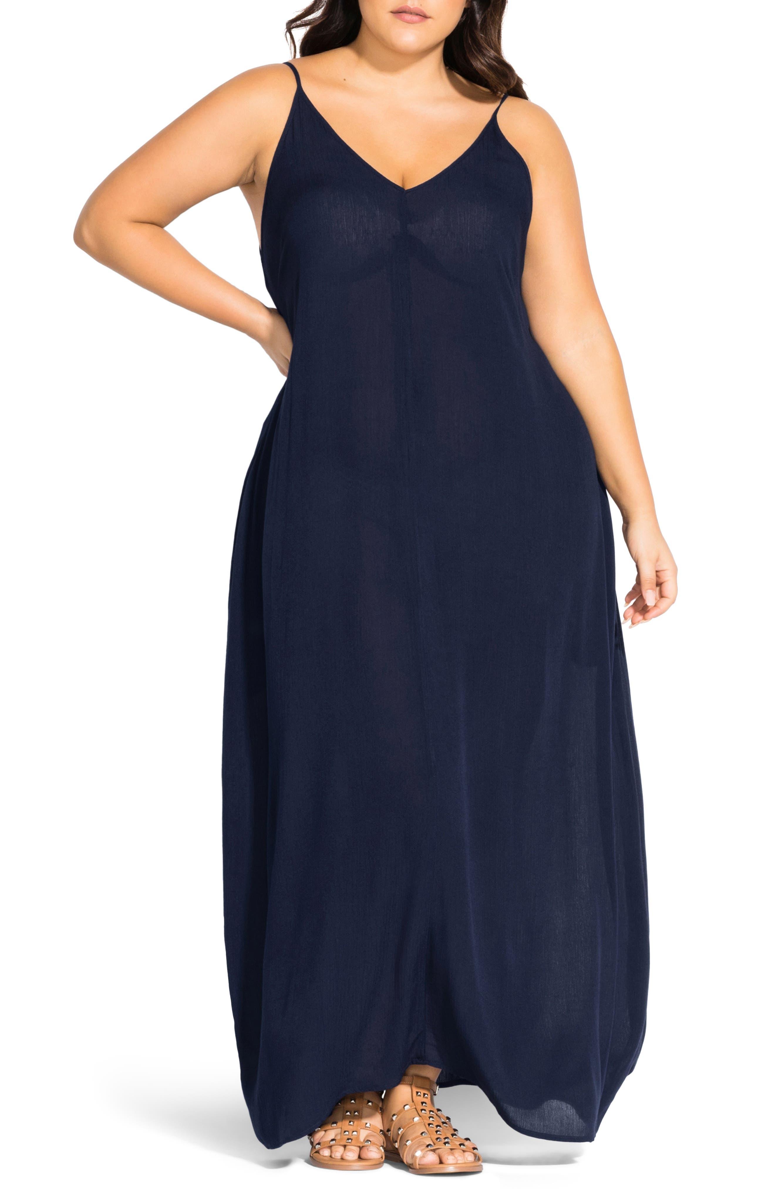 Plus Size City Chic Summer Love Maxi Dress, Blue