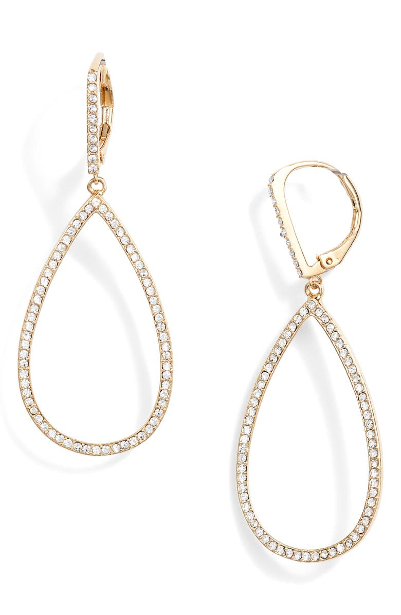 NORDSTROM Pavé Teardrop Hoop Earrings, Main, color, CLEAR- GOLD