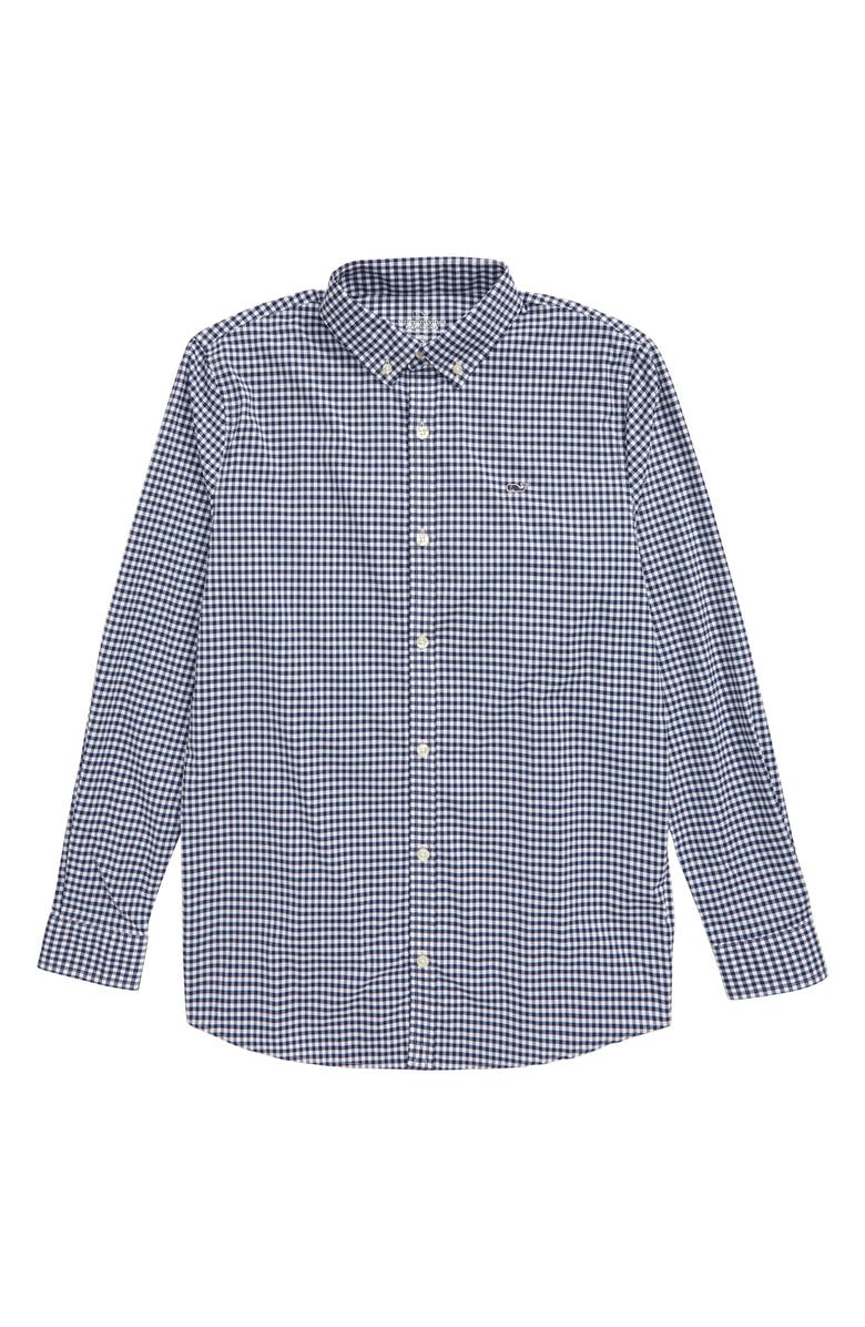 VINEYARD VINES Arawak Gingham Whale Performance Button-Down Shirt, Main, color, DEEP BAY