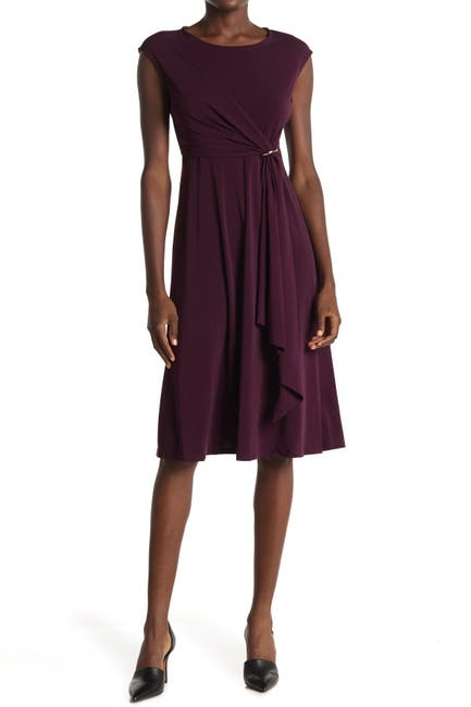Image of T Tahari Draped Fit & Flare Dress