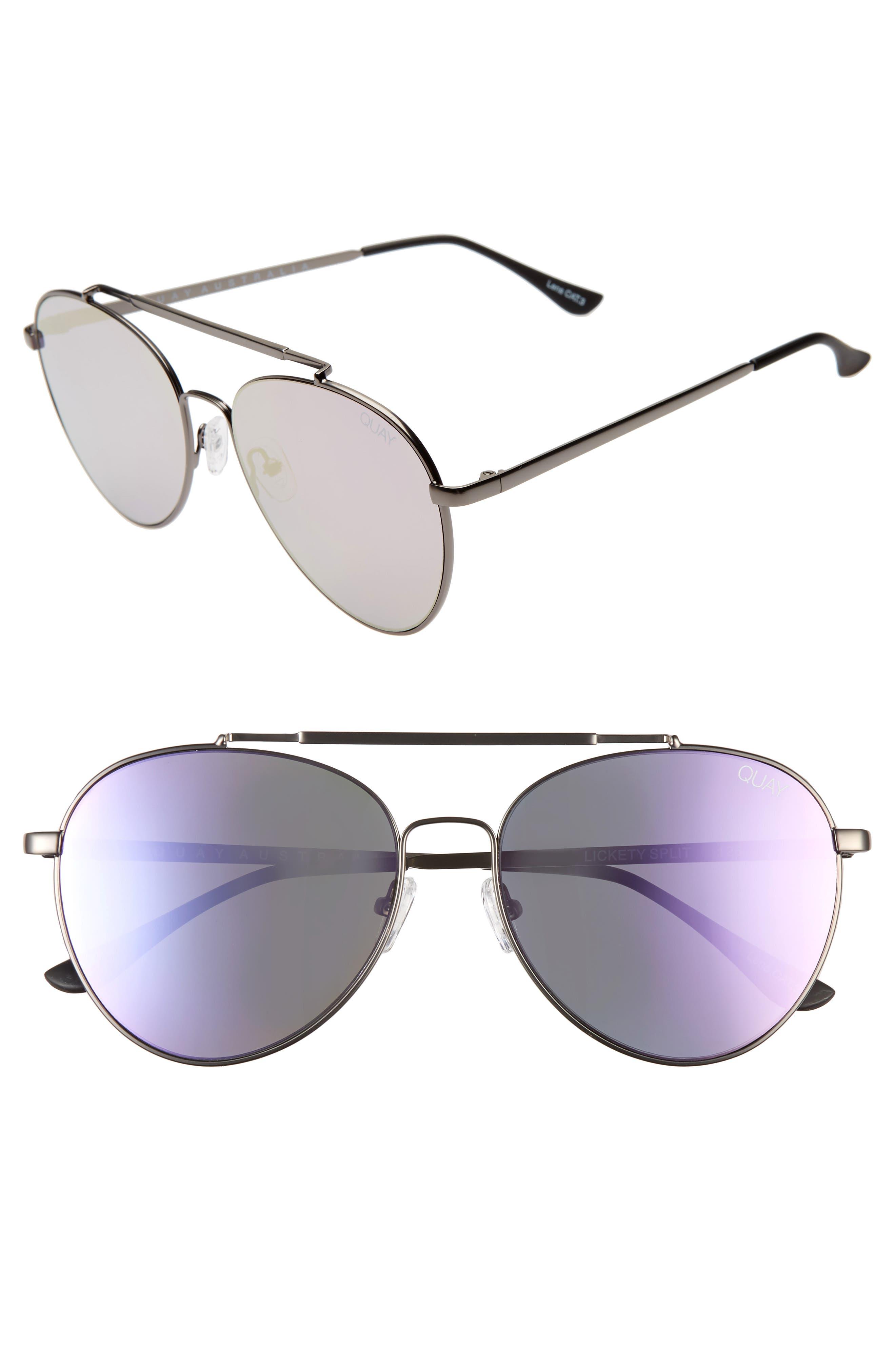 Quay Australia Lickety Split 55Mm Aviator Sunglasses - Gun/ Purple