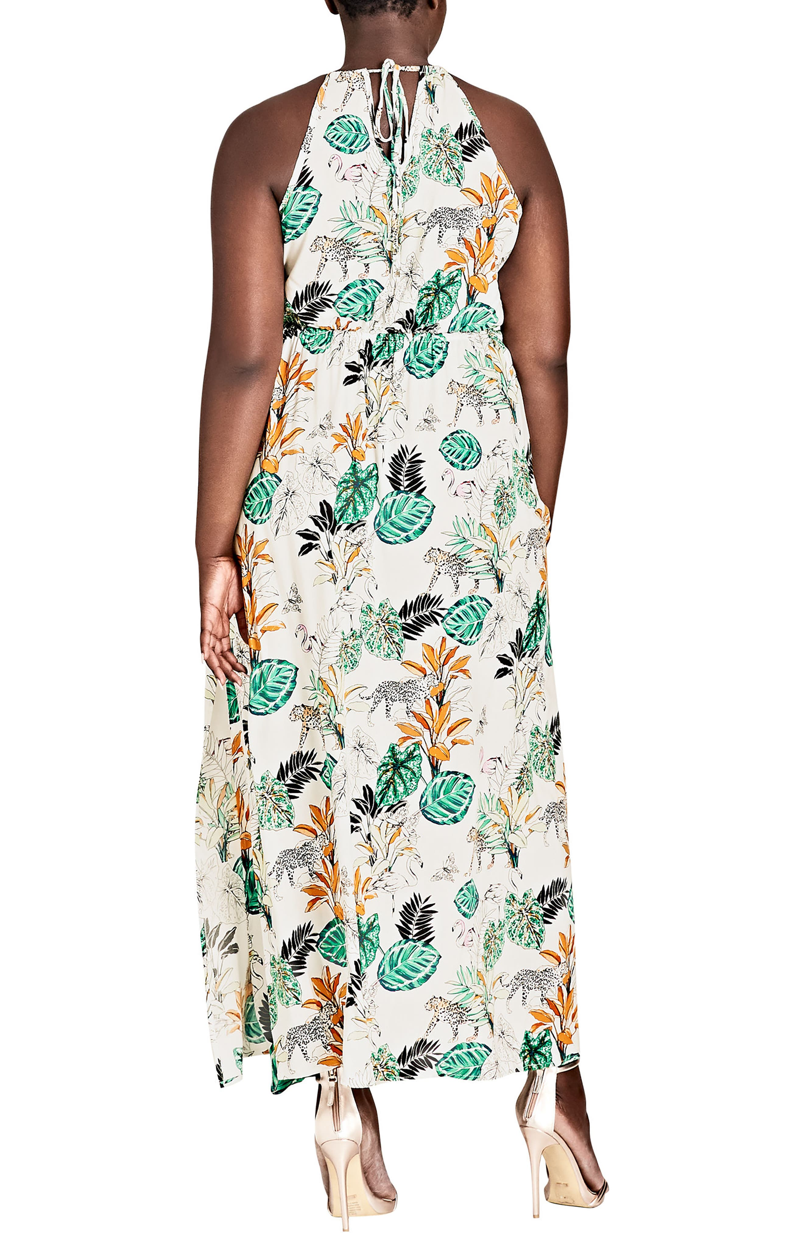 ,                             Jungle Study Drawstring Maxi Dress,                             Alternate thumbnail 2, color,                             JUNGLE STUDY