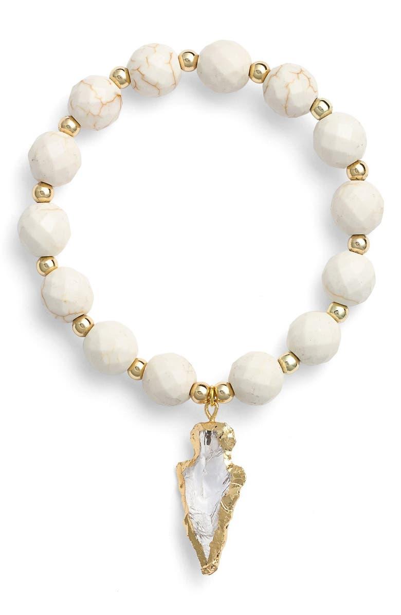 ELISE M. 'Allegra' Arrow Pendant Beaded Bracelet, Main, color, 100