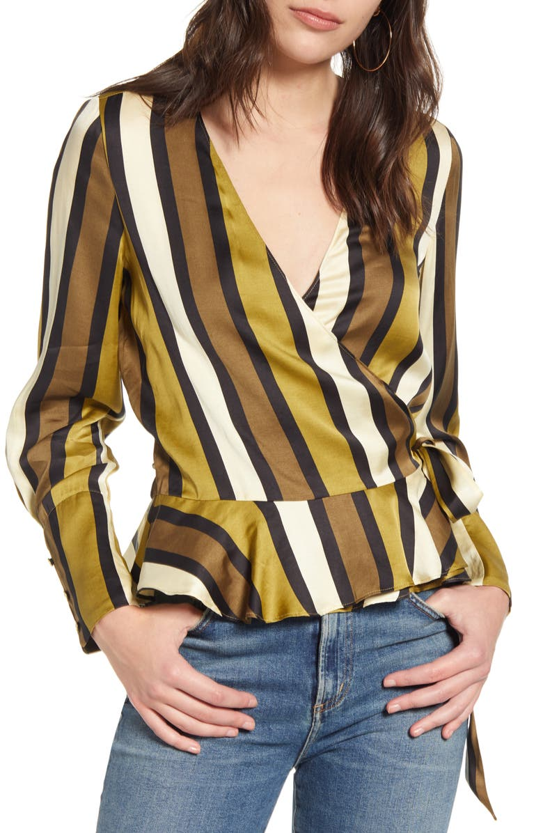 SCOTCH & SODA Stripe Wrap Top, Main, color, COMBO C