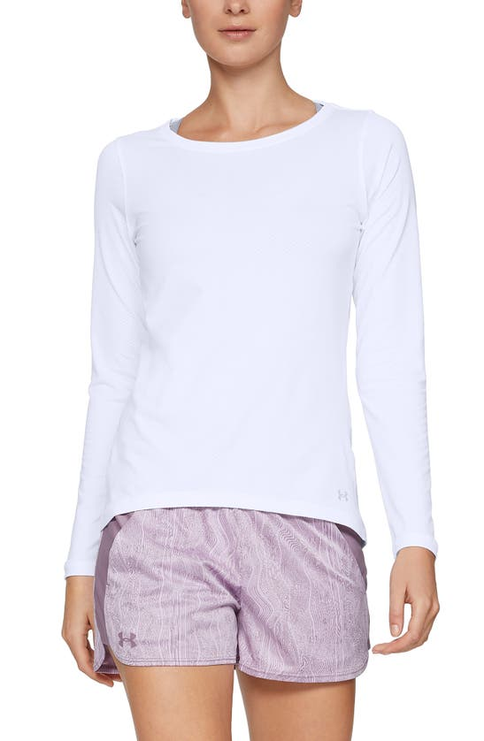 Under Armour Heatgear Armour Long Sleeve Knit Top In White / Metallic Silver