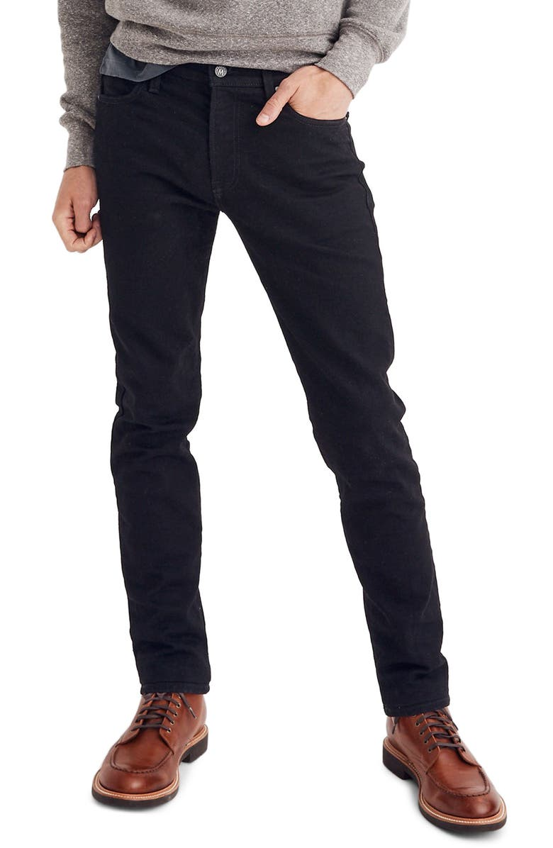 MADEWELL Slim Leg Jeans, Main, color, SATURATED BLACK