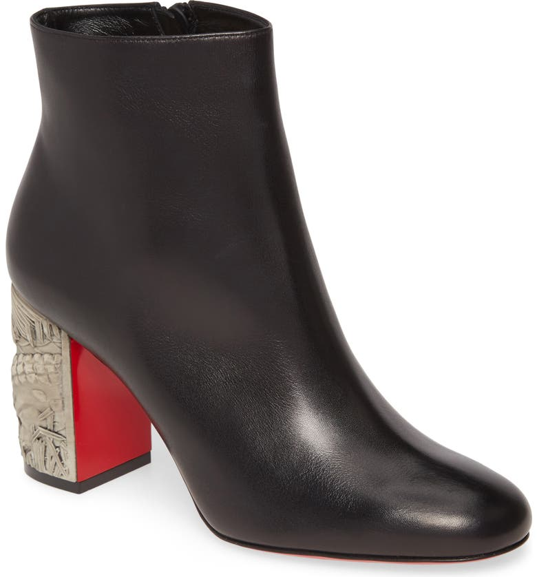 CHRISTIAN LOUBOUTIN Scrunch Bootie, Main, color, BLACK/ PIETRA