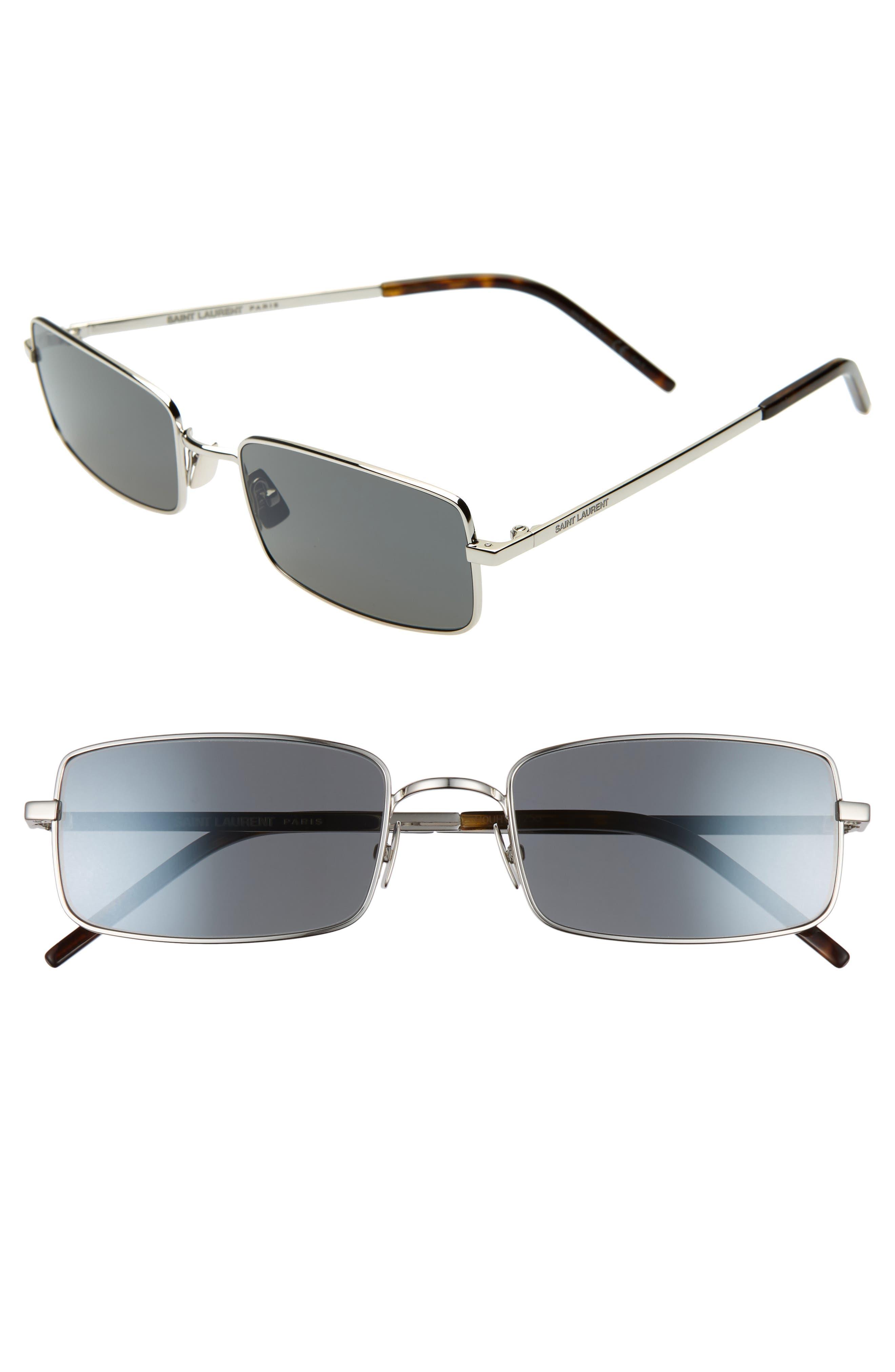 Saint Laurent 5m Rectangle Sunglasses - Silver/ Grey