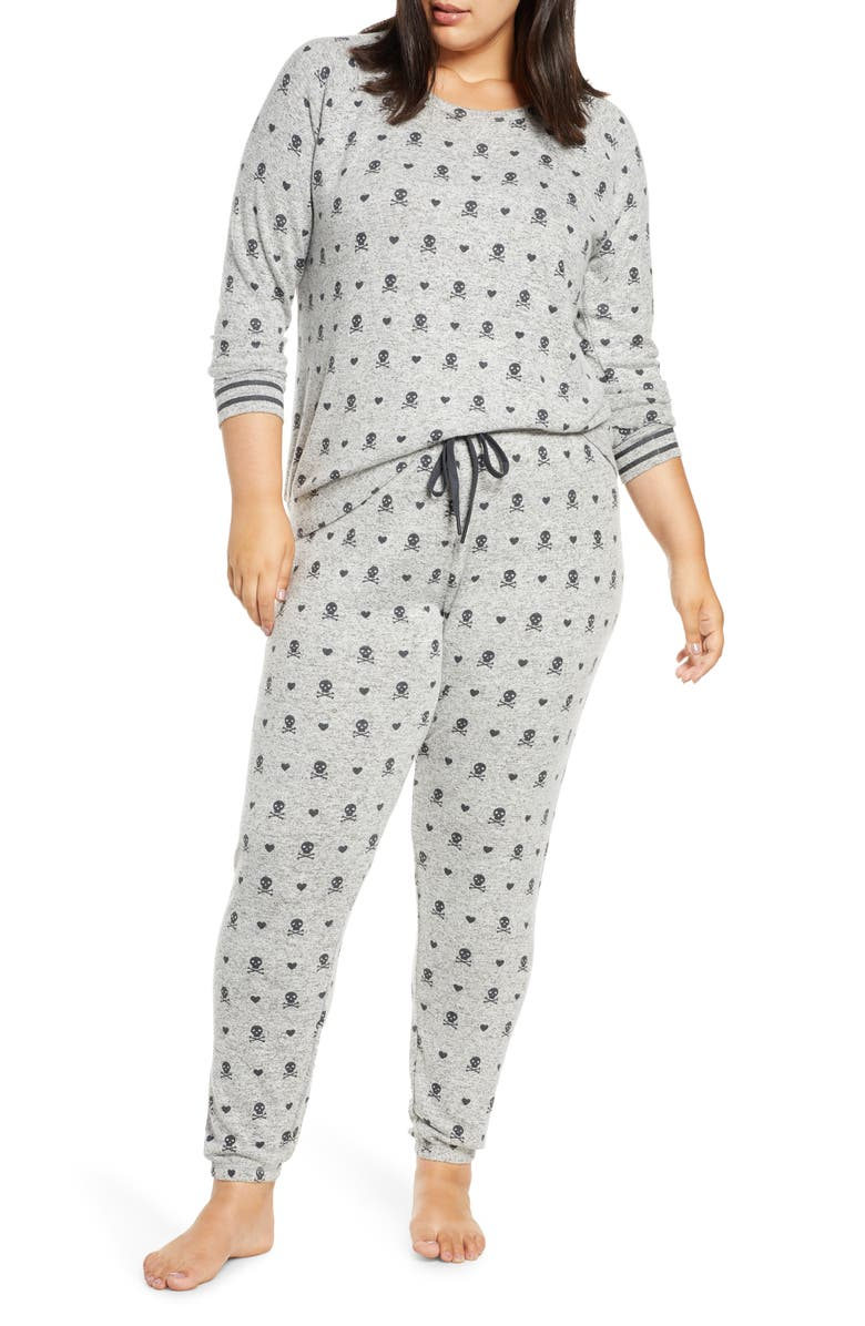 PJ SALVAGE Just Peachy Jersey Pajamas, Main, color, SLATE MELANGE