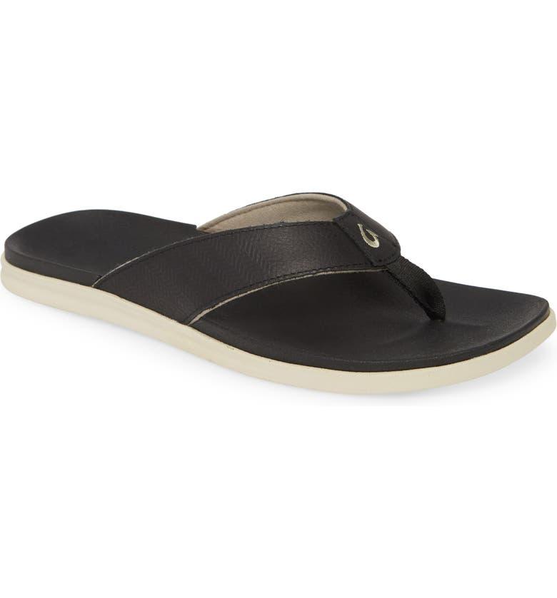 OLUKAI Alania Flip Flop, Main, color, BLACK LEATHER