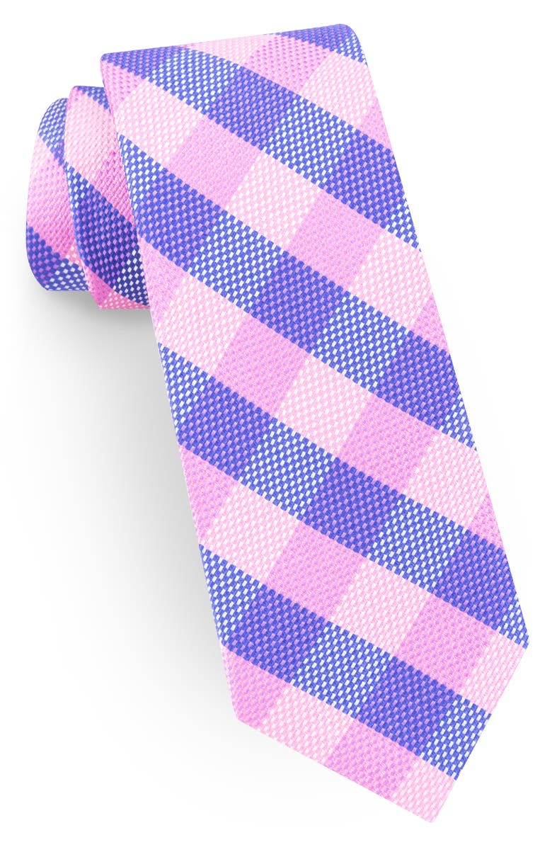 TED BAKER LONDON Plaid Silk Tie, Main, color, PINK
