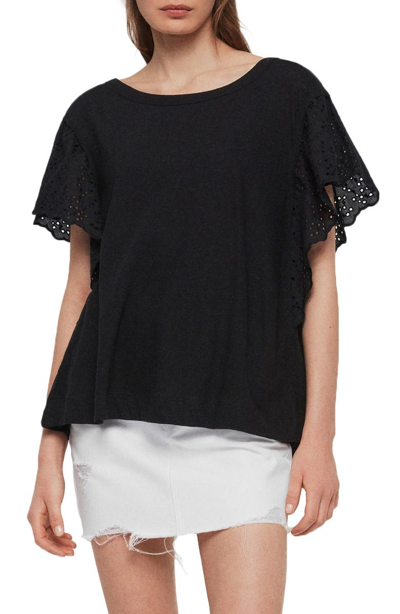 ALLSAINTS Noja Eyelet Flounce Sleeve Cotton & Linen Tee, Main, color, BLACK