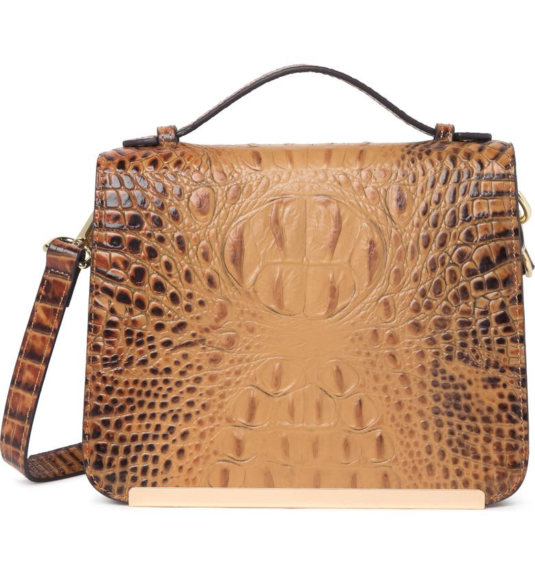 VICENZO LEATHER Inaya Croc Embossed Leather Crossbody Bag, Main, color, CARAMEL
