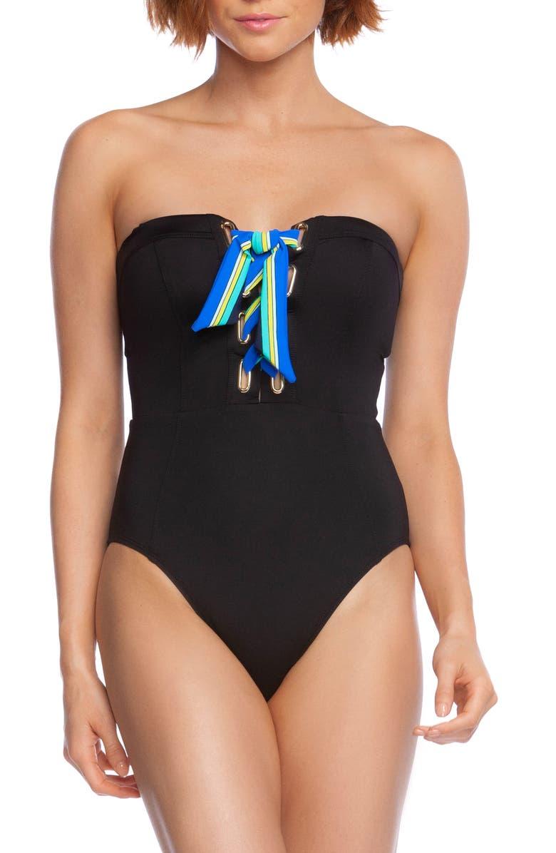 TRINA TURK Ipanema One-Piece Swimsuit, Main, color, BLACK