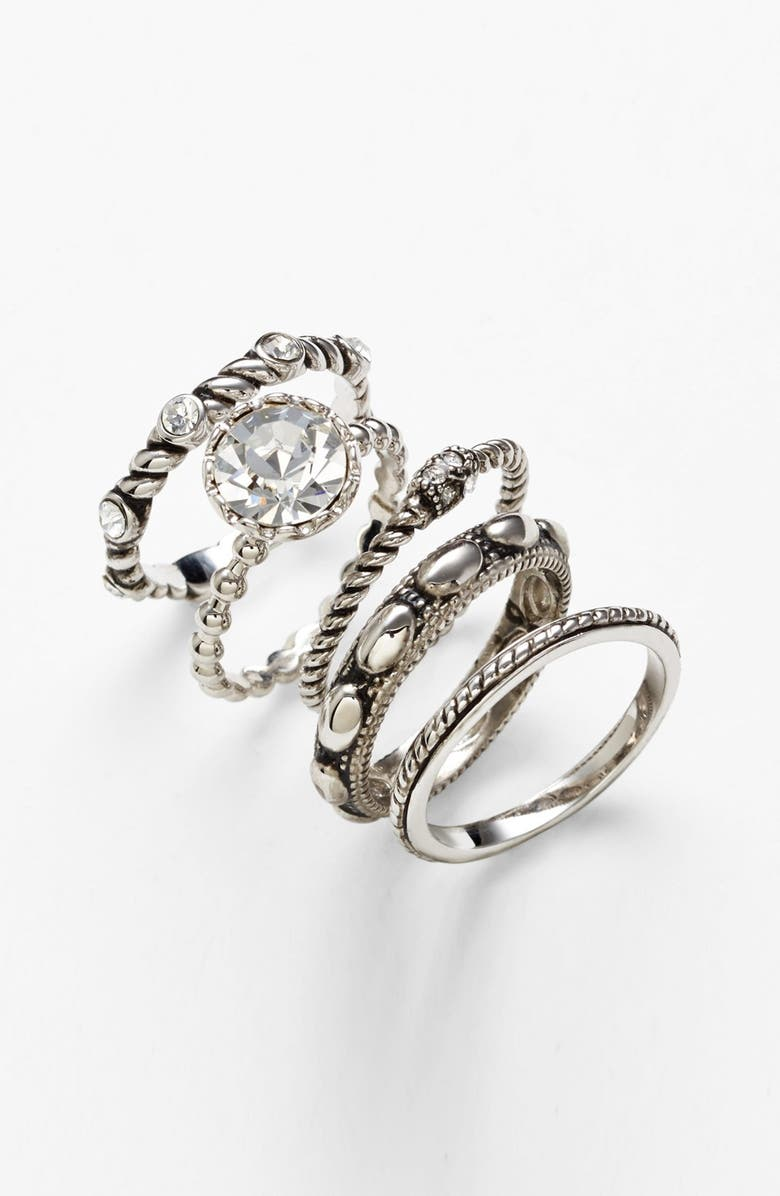 COVET Ariella Collection Cocktail Stack Rings, Main, color, ANTIQUE SILVER/ CLEAR