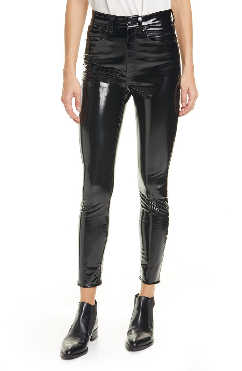 RAG & BONE Super High Waist Ankle Skinny Vinyl Pants, Main, color, 001