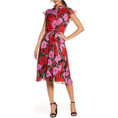 Julia Jordan Floral Flutter Sleeve Fit & Flare Dress, Pink