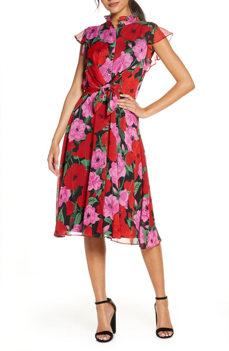 JULIA JORDAN Floral Flutter Sleeve Fit & Flare Dress, Main, color, RED MULTI