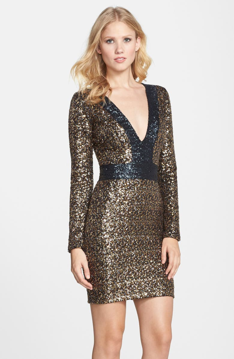 DRESS THE POPULATION 'Sydney' Sequin Body-Con Minidress, Main, color, 710