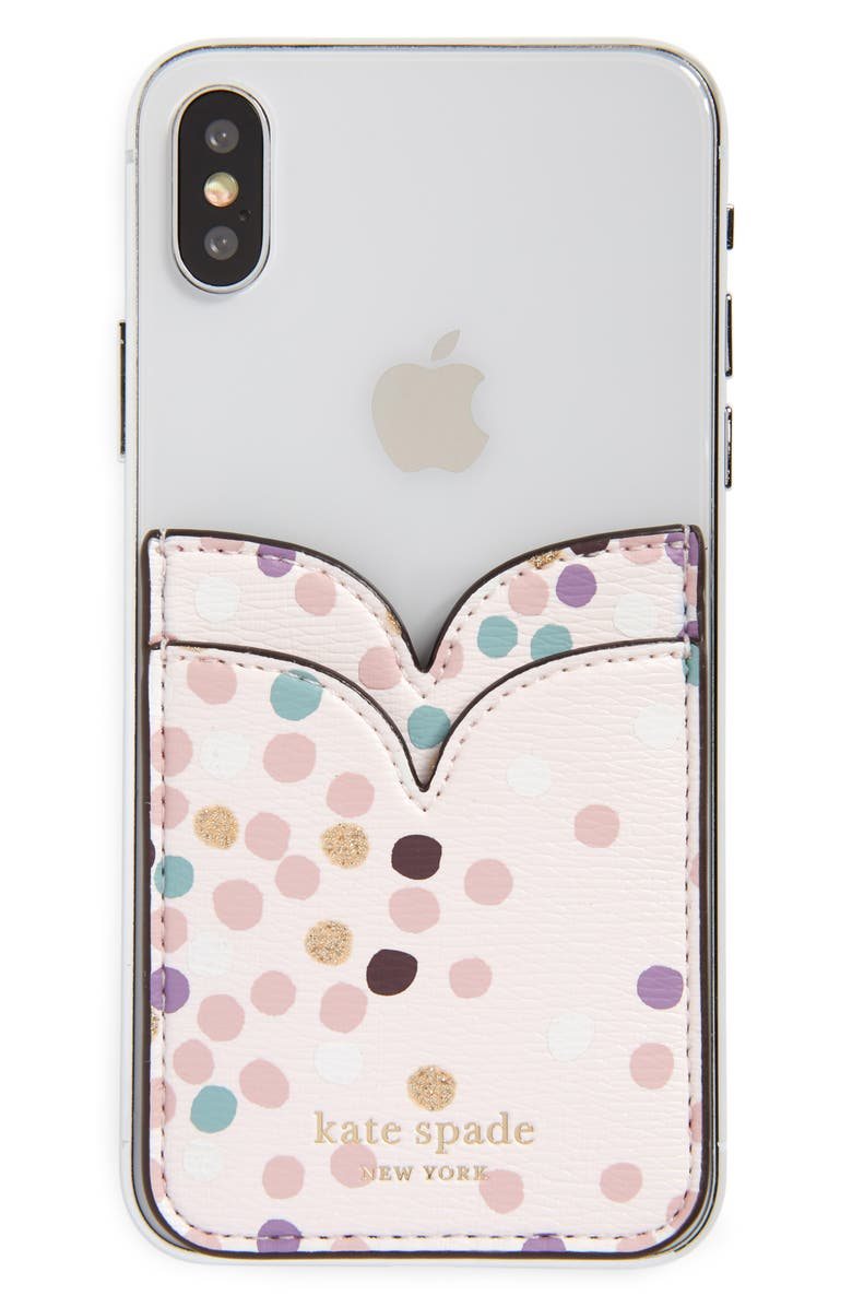 KATE SPADE NEW YORK dots double sticker phone pocket, Main, color, MULTI