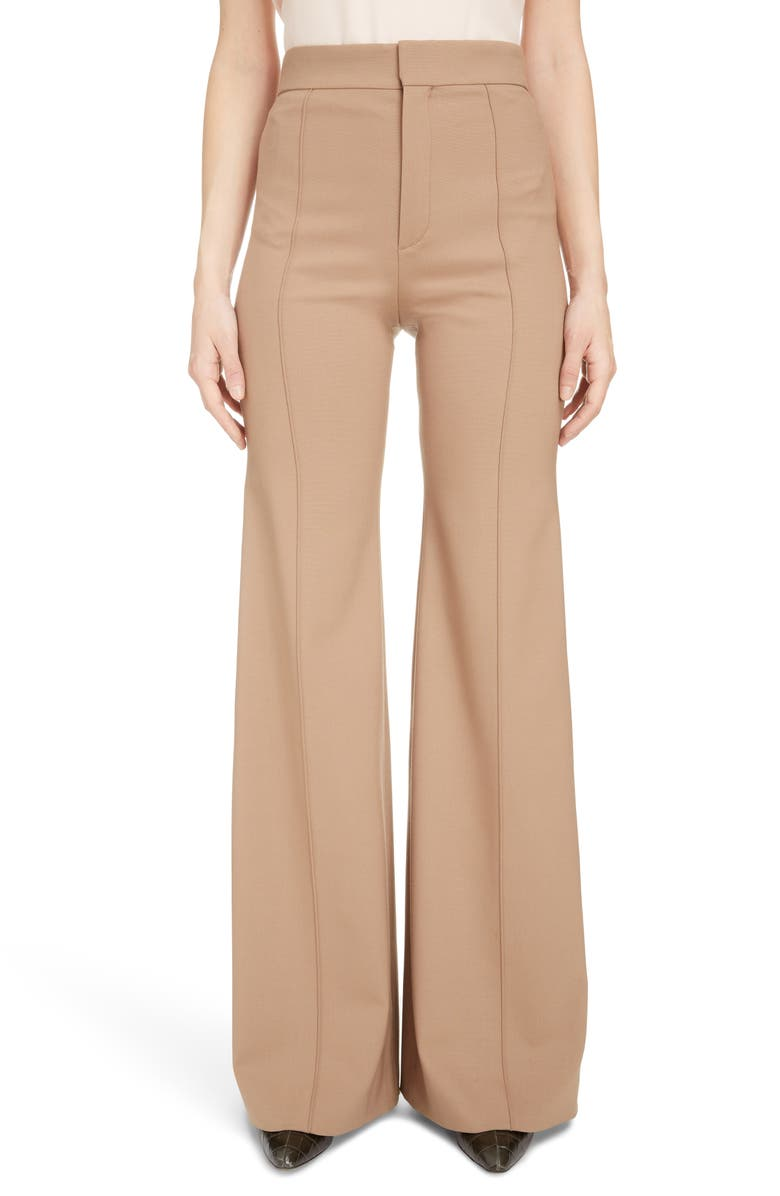 CHLOÉ Flare Leg Stretch Wool Pants, Main, color, VEGETAL BROWN