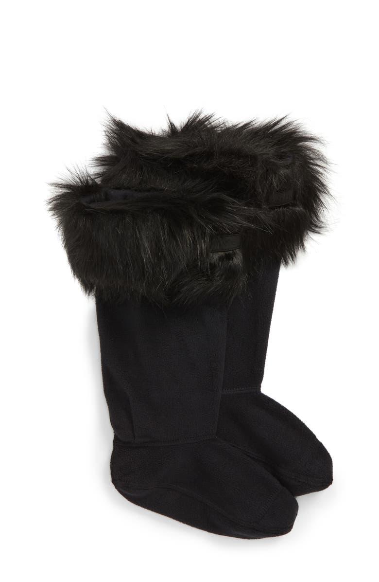 HUNTER Original Tall Faux Fur Cuff Welly Boot Socks, Main, color, 001