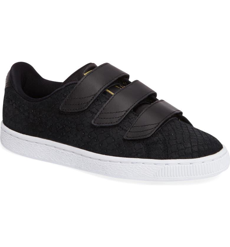 PUMA Basket Strap ExoticSkin Sneaker, Main, color, 001