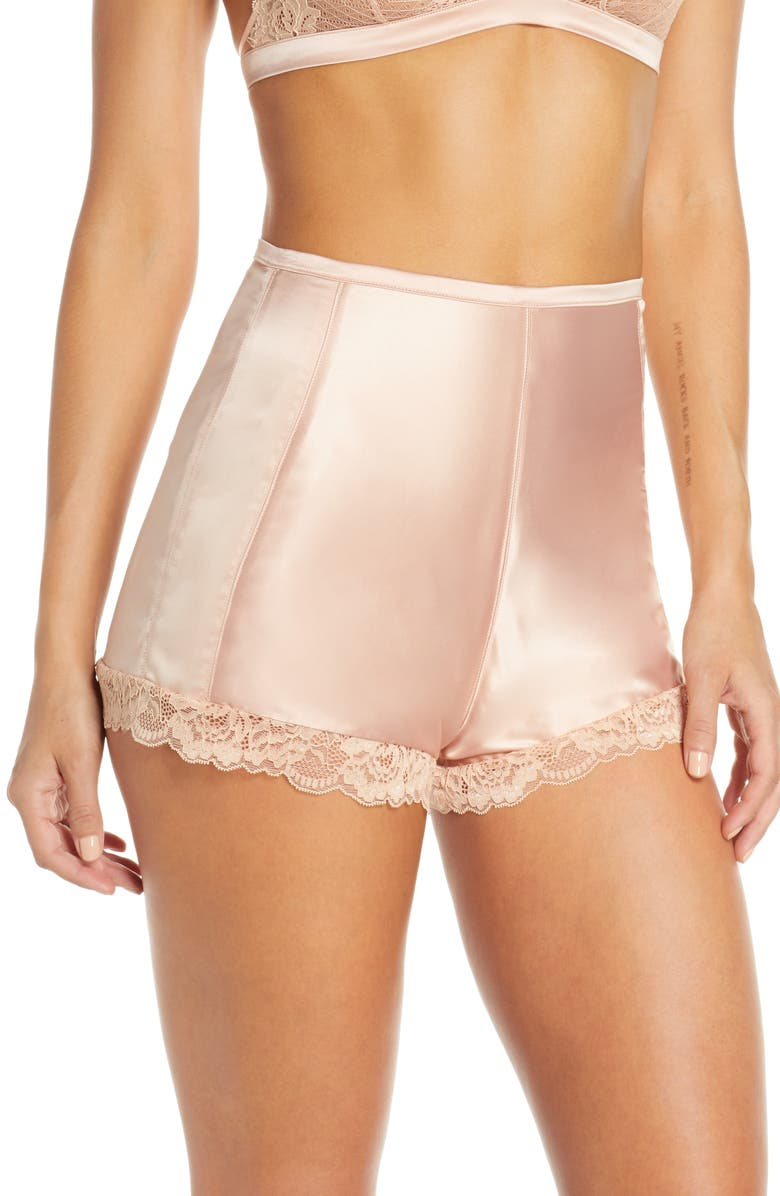 PALINDROME Chelsea High Waist French Shorts, Main, color, MAPLE