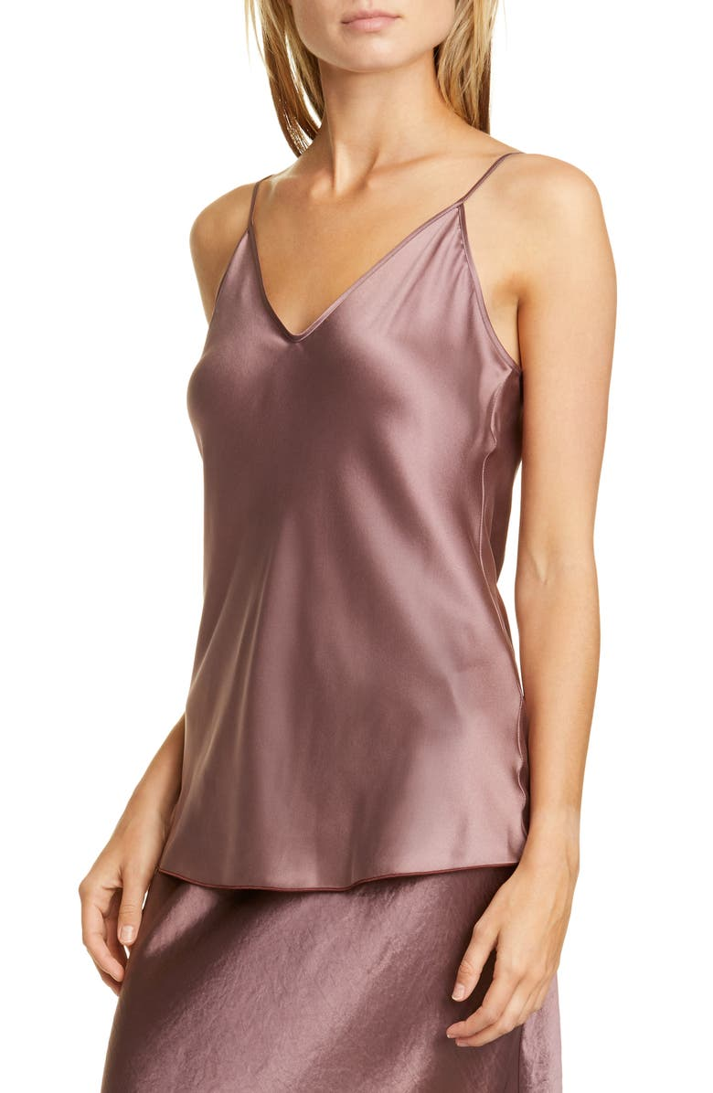 MAX MARA LEISURE Lucca Stretch Silk Camisole, Main, color, ANTIQUE ROSE