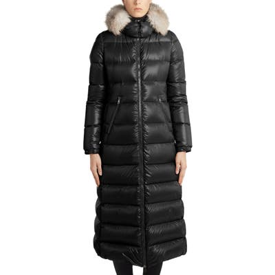 Moncler Hudson Long Quilted Down Coat With Genuine Fox Fur Trim, (fits like 0-2 US) - Black