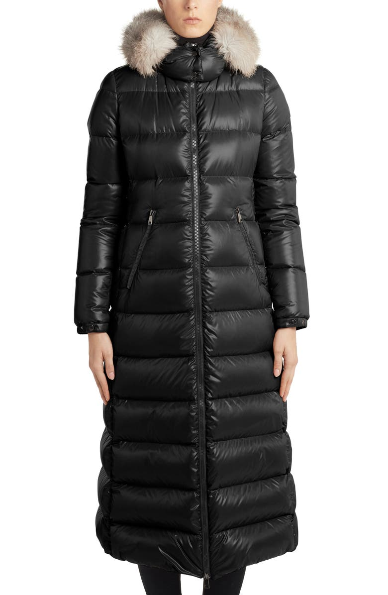 MONCLER Hudson Long Quilted Down Coat with Genuine Fox Fur Trim, Main, color, BLACK