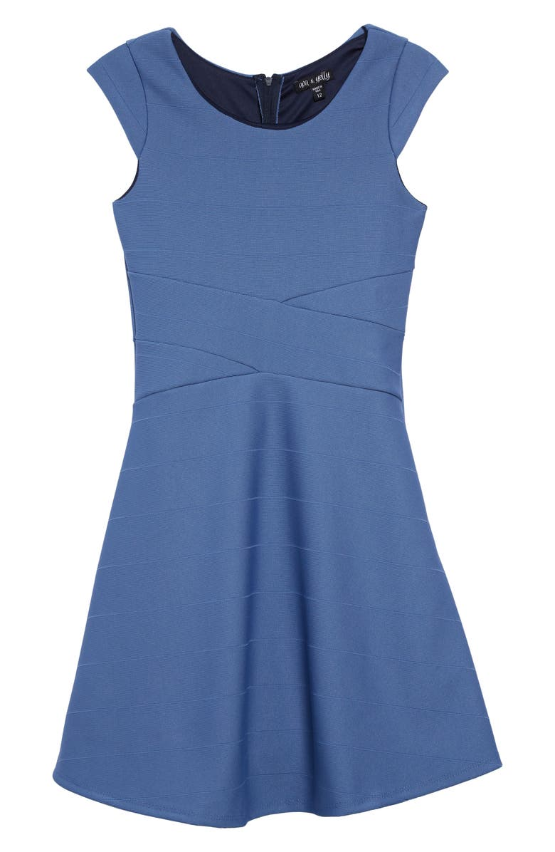 AVA & YELLY Skater Dress, Main, color, DENIM BLUE