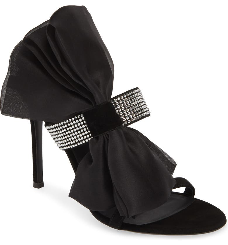 GIUSEPPE ZANOTTI Ruffle Sandal, Main, color, BLACK