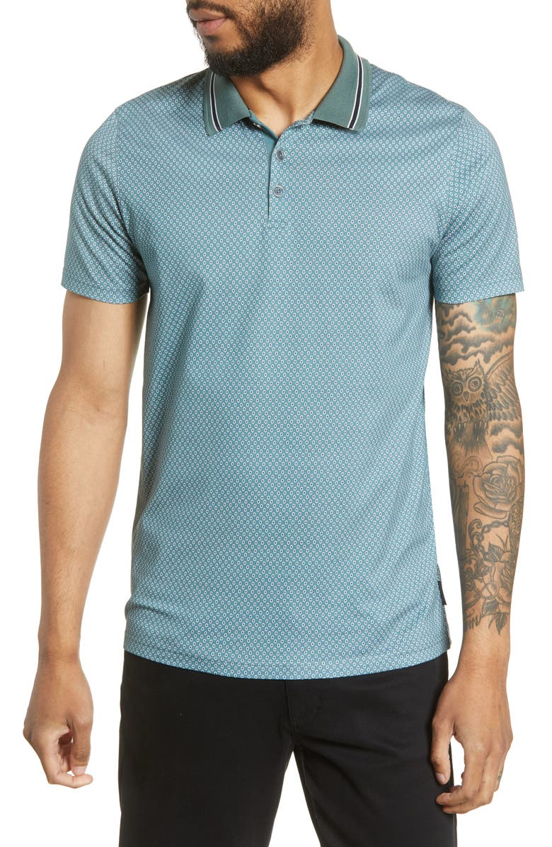 TED BAKER LONDON Carpark Slim Fit Print Polo, Main, color, MEDIUM GREEN