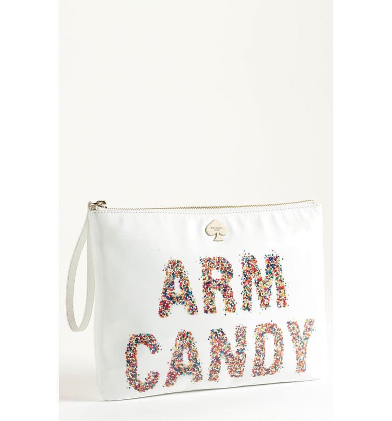 KATE SPADE NEW YORK 'arm candy' leather pouch, Main, color, 101