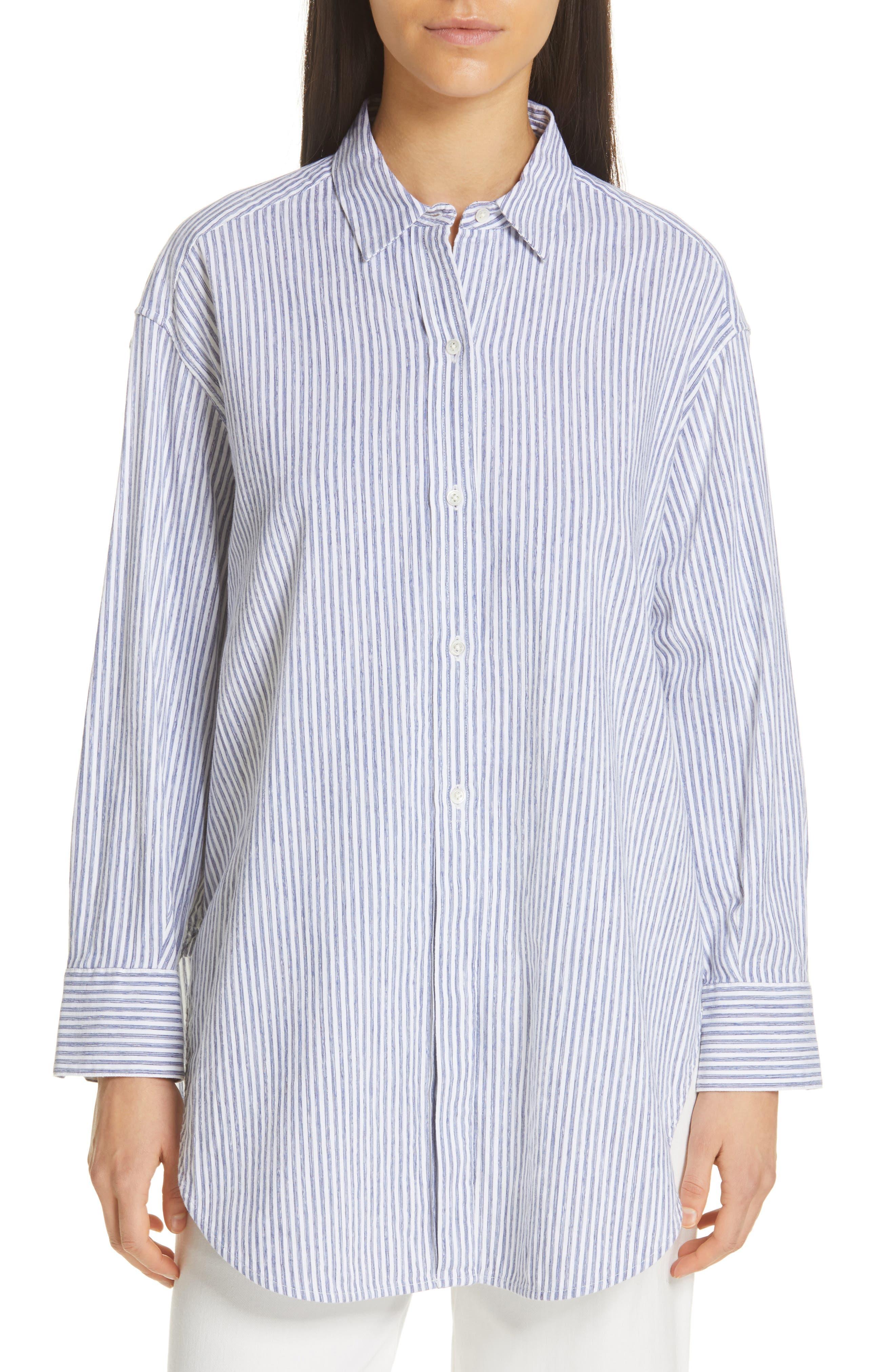 ,                             Oversize Stripe Shirt,                             Alternate thumbnail 5, color,                             INDIGO