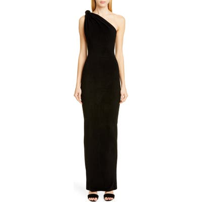 Brandon Maxwell Giselle Knot Top Column Gown, Black