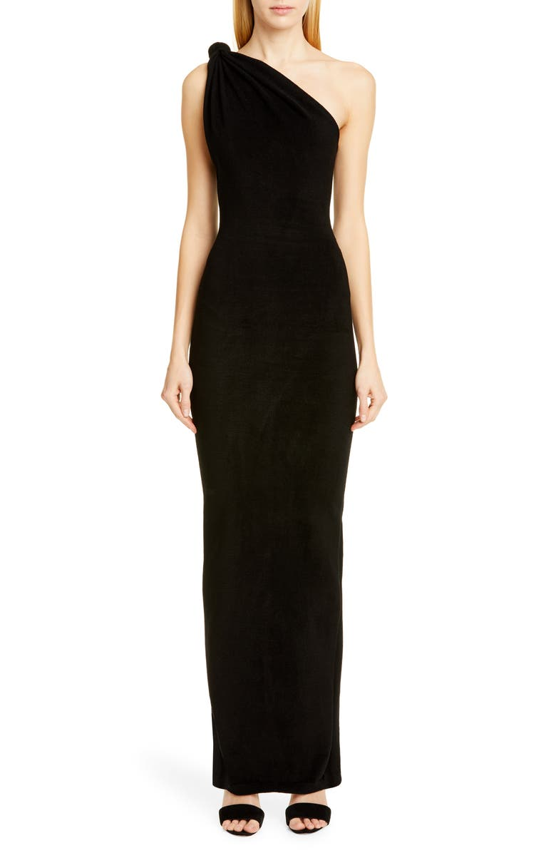 BRANDON MAXWELL Giselle Knot Top Column Gown, Main, color, BLACK