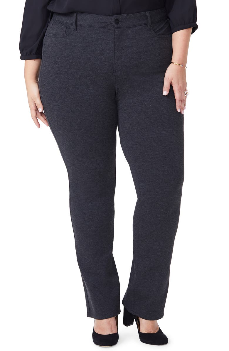 NYDJ Marilyn Straight Ponte Knit Pants, Main, color, CHARCOAL HEATHERED _ CHARH