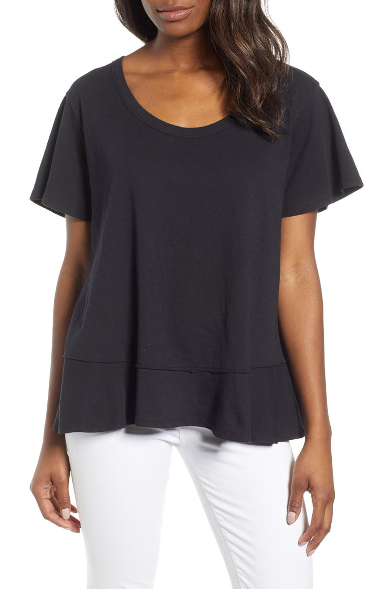 CASLON<SUP>®</SUP> Ruffle Hem Tee, Main, color, 001