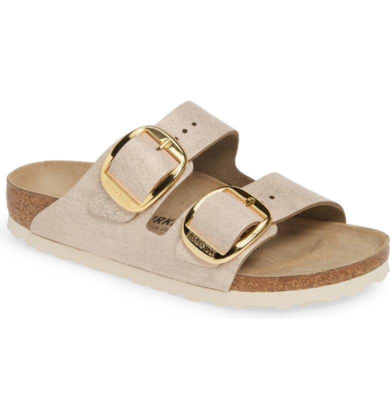 BIRKENSTOCK Arizona Big Buckle Slide Sandal, Main, color, WASHED METALLIC ROSE LEATHER