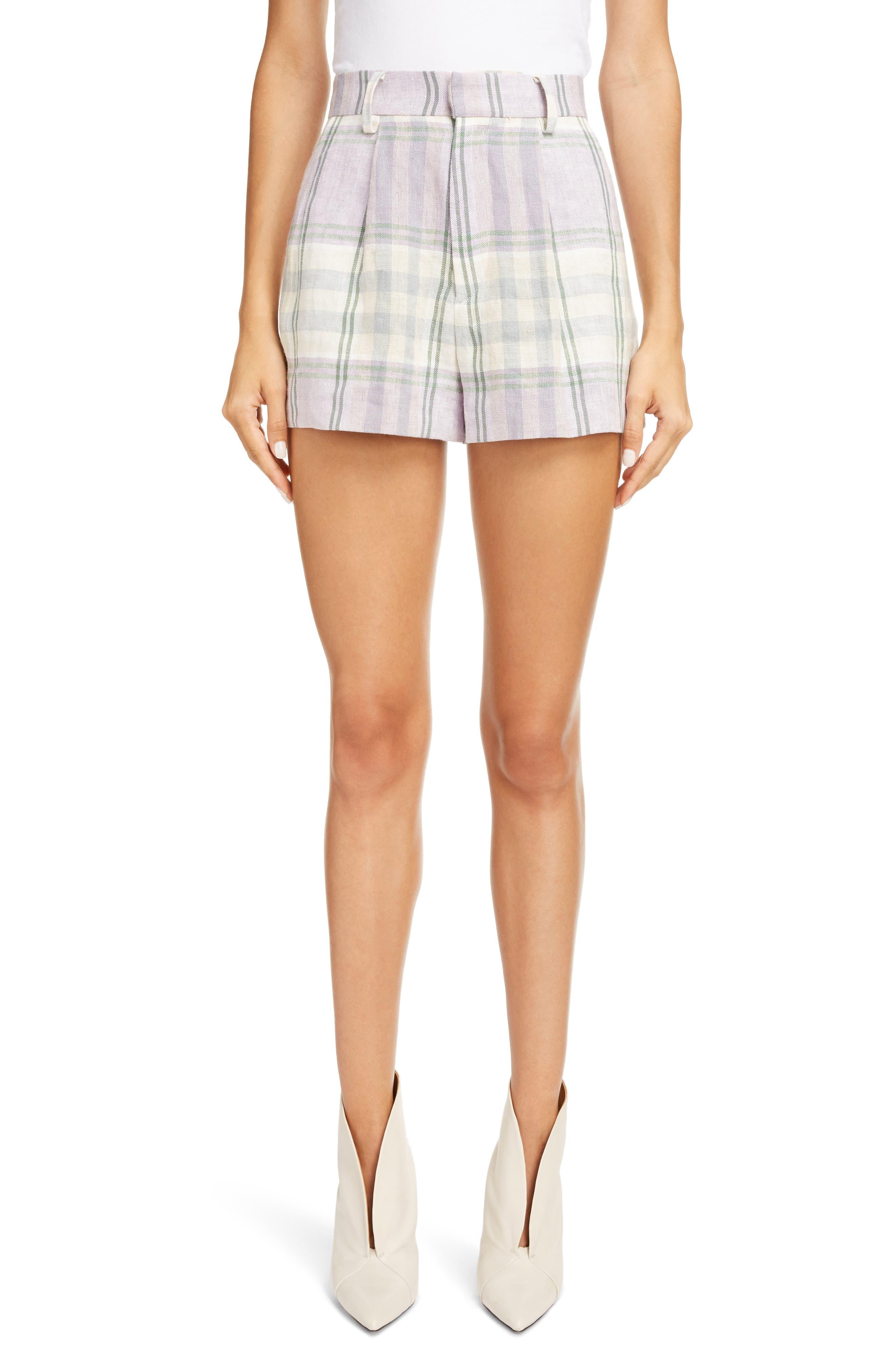 Women's Isabel Marant Etoile Ilabot Plaid Linen Shorts