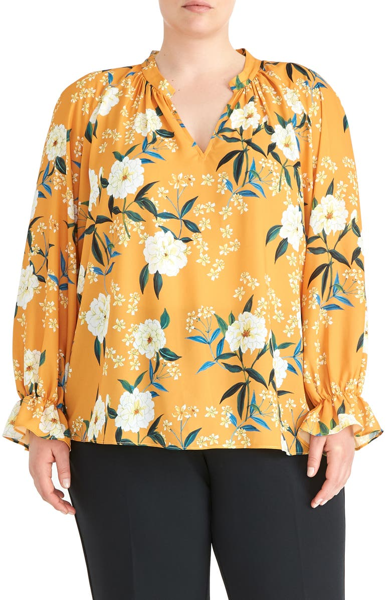 RACHEL ROY COLLECTION Poet Blouse, Main, color, GOLDENROD COMBO