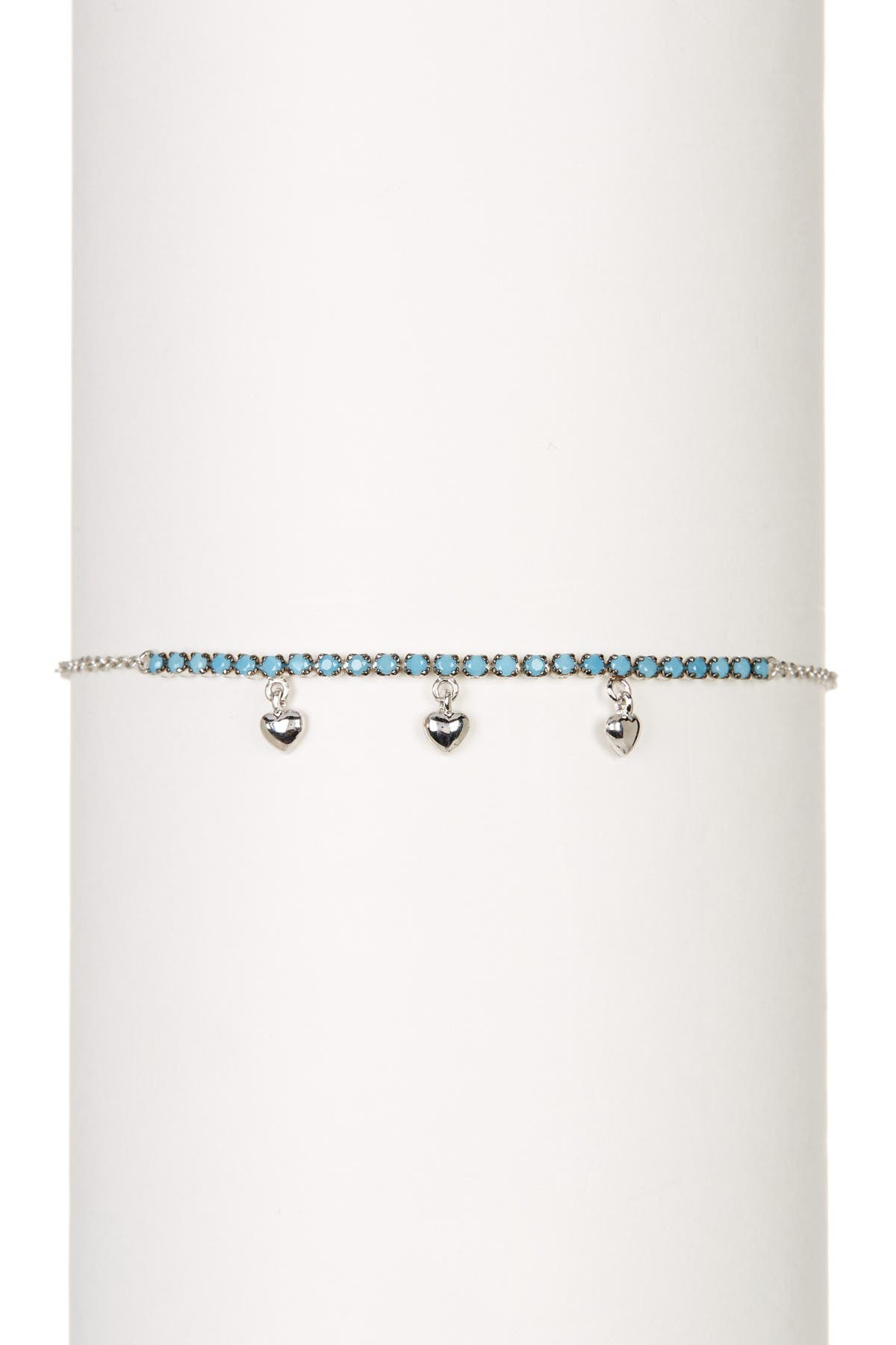 Image of ADORNIA Sterling Silver Turquoise Stone and Hanging Hearts Bracelet