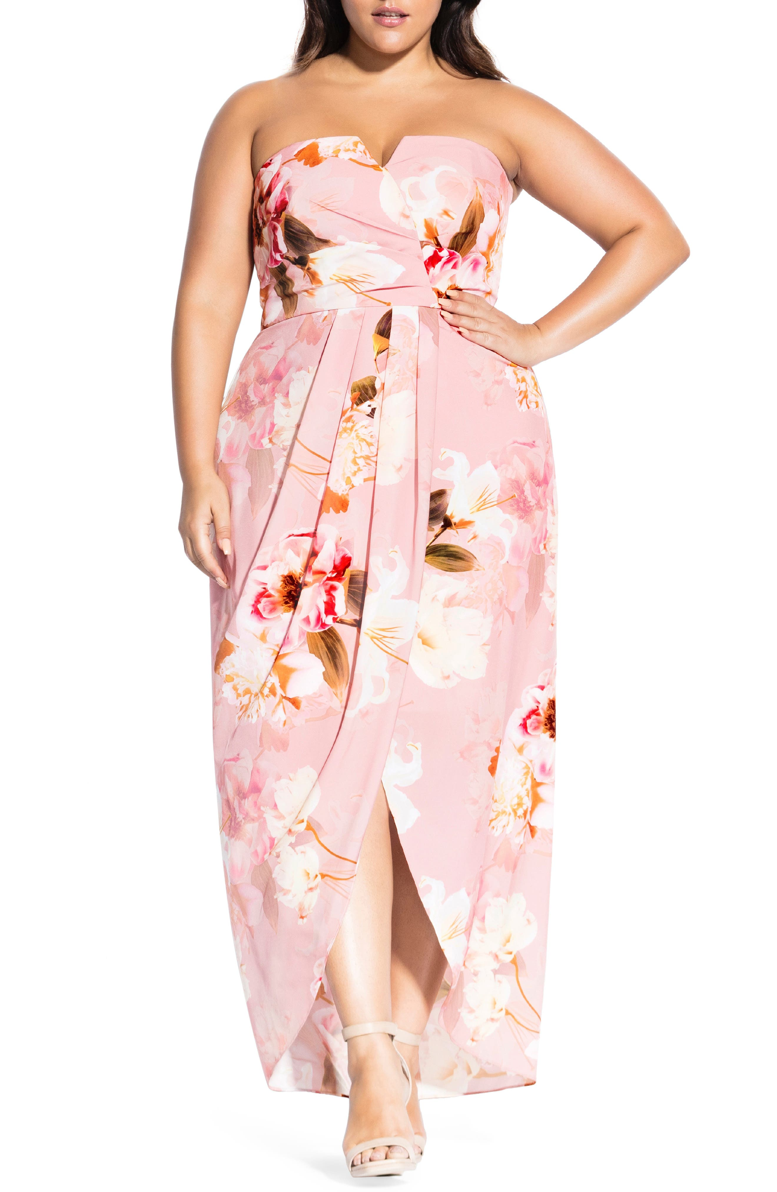 Plus Size City Chic English Rose Maxi Dress, Red