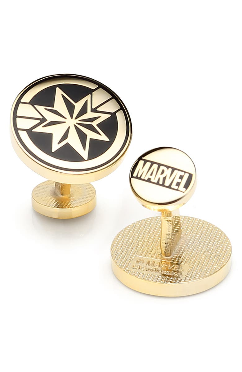 CUFFLINKS, INC. Captain Marvel Cuff Links, Main, color, BLACK
