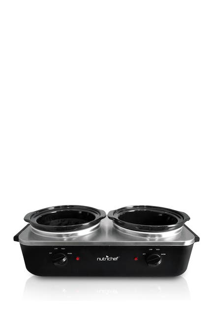 Image of NutriChef Dual Pot Electric Slow Cooker Food Warmer & Server