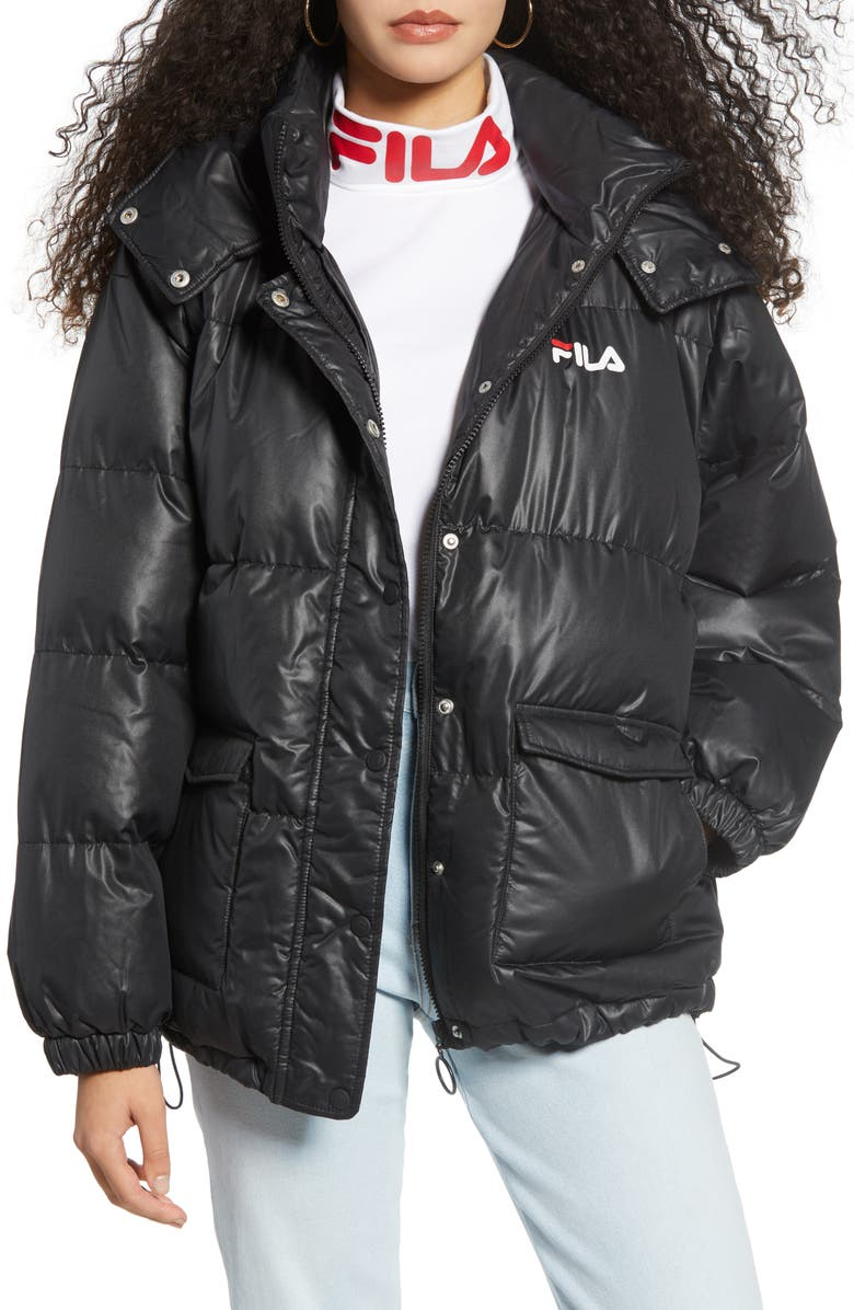 FILA Remie Hooded Puffer Jacket, Main, color, BLACK/ WHITE/ CHINESE RED