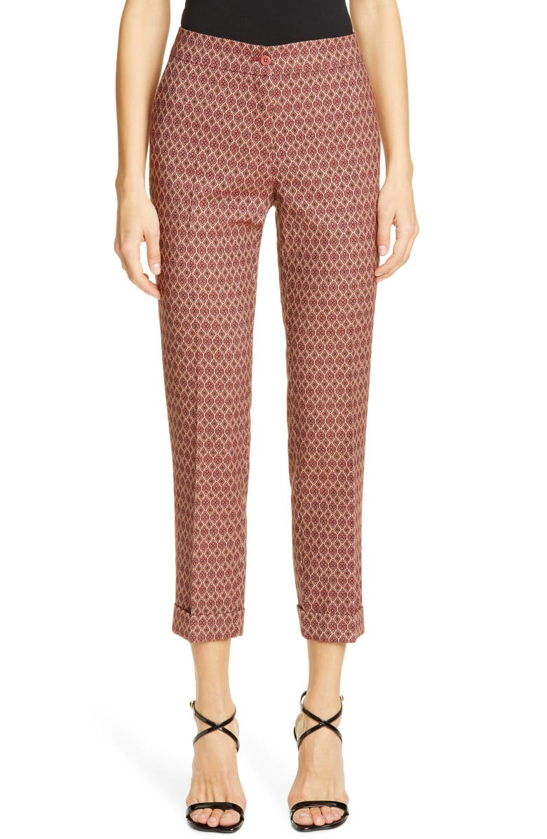 ETRO Straight Leg Cuffed Jacquard Pants, Main, color, PINK